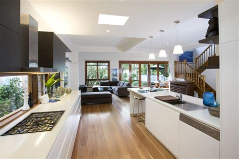 designer living kitchens looking out to the living area modern kitchen sydney 3294