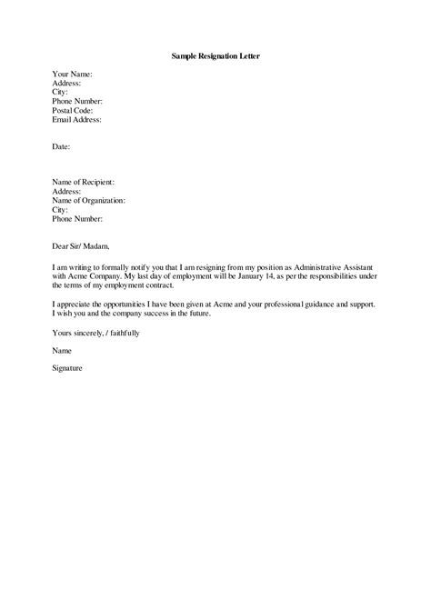 write  good resignation letter