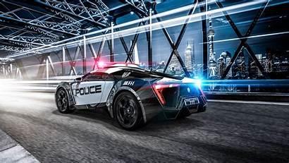 4k Police Sportscar Sports Lights Background Supercar