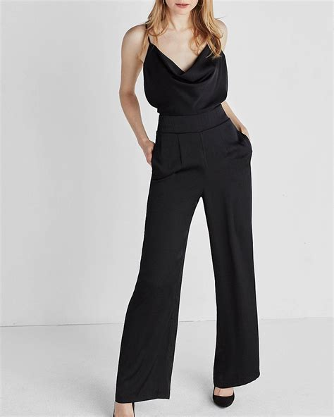 express jumpsuits express satin jumpsuit in black lyst