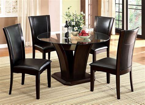 glass top dining table sets manhattan round glass top dark cherry unique pedestal base
