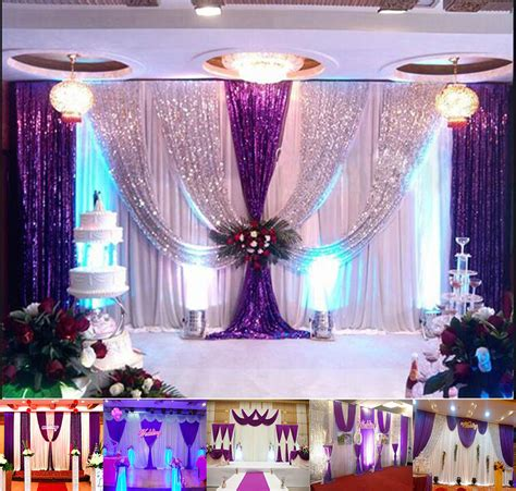 Background Decorations 20x10ft wedding backdrop curtain purple decor sparkly