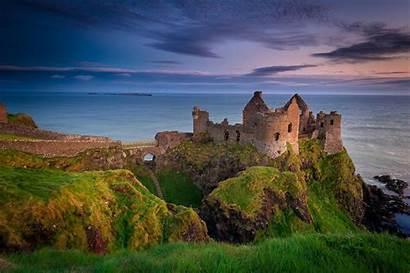 Ireland Castle Ruins Northern Dunluce Night County