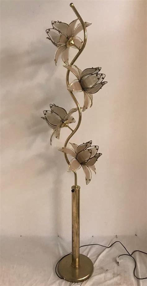 mid century italian glass flower floor lamp  sale  pamono