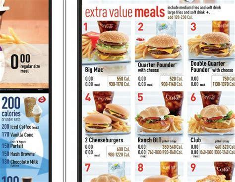 calorie counts  drive  menus  mcdonalds
