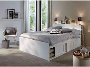 Lit 140 Avec Rangement : lit adulte 140x190 cm belem coloris blanc vente de lit adulte conforama ~ Teatrodelosmanantiales.com Idées de Décoration
