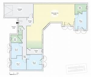 plan maison contemporaine plain pied 4 chambres maison With plan maison de plain pied 4 chambres