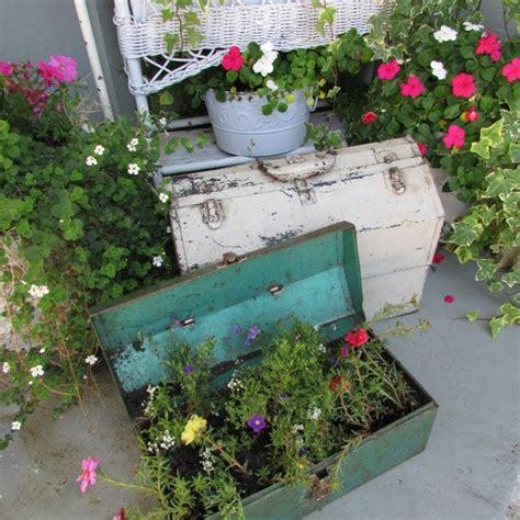 shabby chic garden planters vintage metal tool box great shabby chic garden planter decor industrial piece gardens