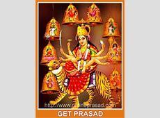 Navdurga Temple Prasad + Rudraksha + Golden Poster + Idol