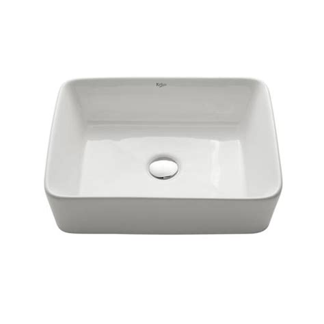 kraus white rectangular ceramic bathroom sink at menards 174