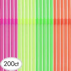 Neon Flexible Straws 200ct Party City