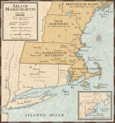New England Colonies in 1677 - National Geographic Society