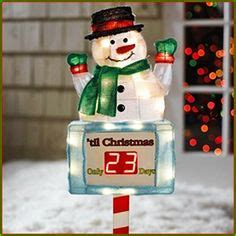 large snowman countdown  christmas clock sign outdoor