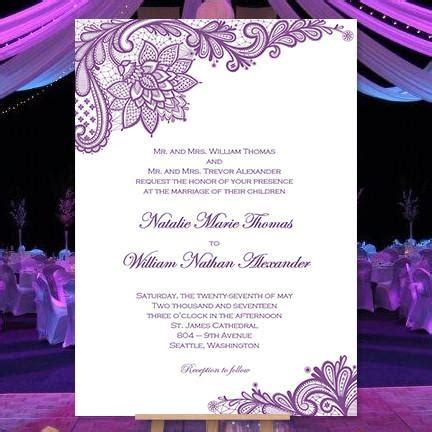 vintage lace wedding invitation purple wedding template shop