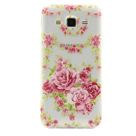 For Samsung Galaxy J2 Case New Arrival Pink Rose White