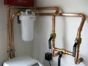 newly installed water softener with house filter and