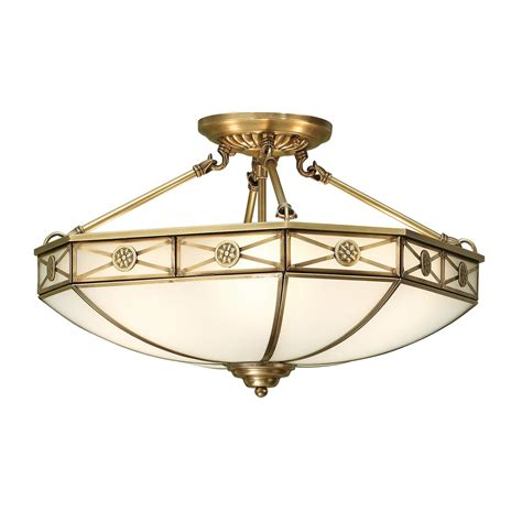 bannerman semi flush tiffany ceiling light in antique brass