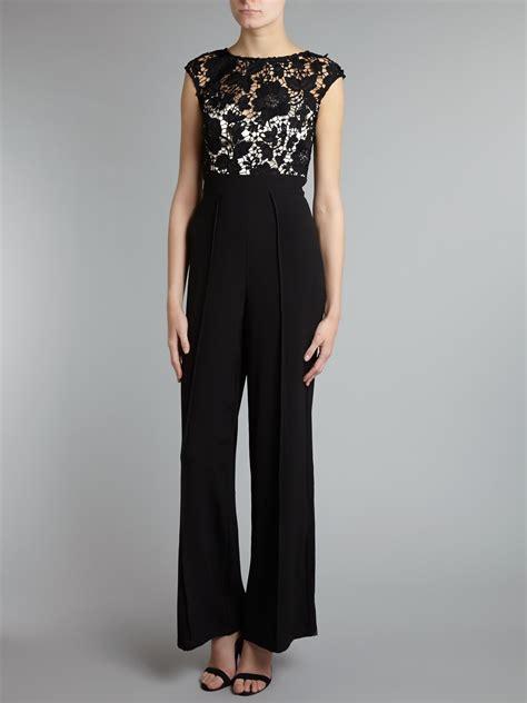 lace jumpsuit lipsy lace top jumpsuit in black lyst