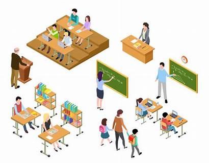 Classroom Uniform Aula Library Kinder Schule Isometric