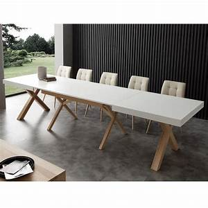 Table Extensible Bois Massif : table extensible de salle manger blanche en bois massif rico ~ Teatrodelosmanantiales.com Idées de Décoration