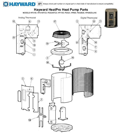 hayward heatpro heat pump parts models hp hptc