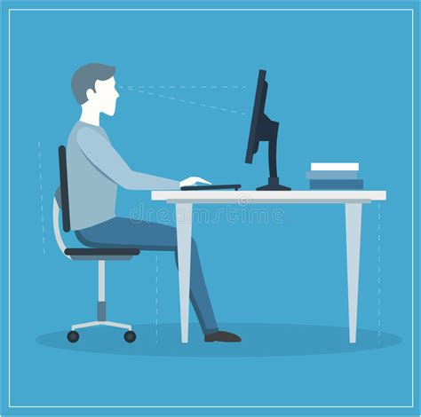 posizione seduta corretta posizione di seduta corretta al computer vettore
