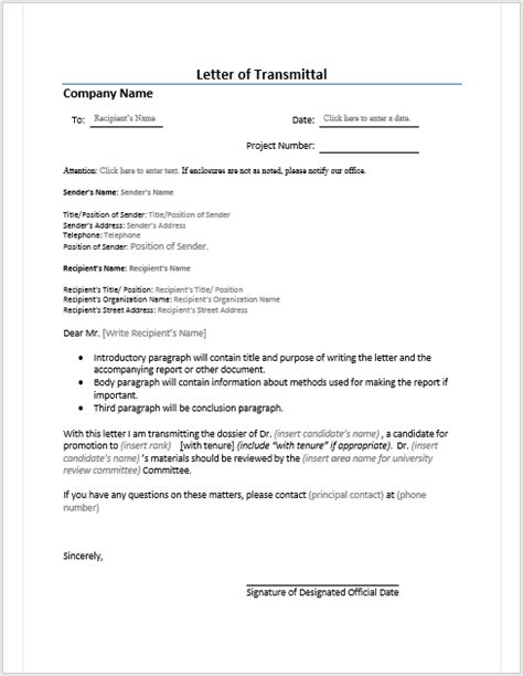 Letter Of Transmittal Template Letter Of Transmittal Gplusnick
