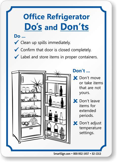 office refrigerator dos   nots sign sku