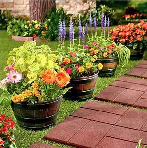 Large, Outdoor, Flower, Planters, Pots, Garden, Set, Rustic, Half, Barrel, Tubs, Containers