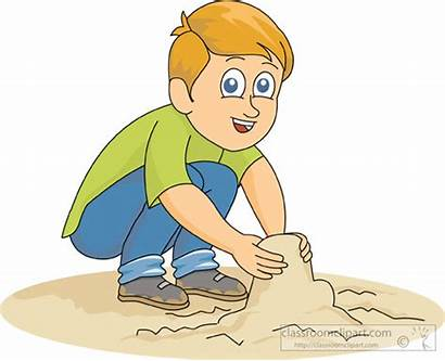 Sand Clipart Playing Clip Boy Outdoors Play