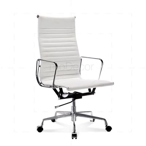 eames office chair high back ribbed leather white 163