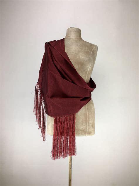 Mexican traditional silk rebozo - burgundy | Silk, Fashion ...