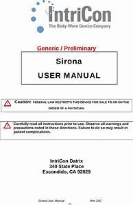 Intricon Rx92369 Sirona Ecg Recorder User Manual Sirona