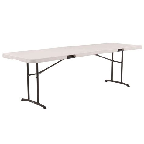 folding 8 foot table lifetime 6 ft white granite fold in half table 25011