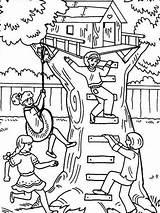 Coloring Treehouse Baumhaus Boomhutten Tree Ausmalbilder Kleurplaat Playing Kleurplaten Colorear Dibujos Malvorlage Malvorlagen Desenhos Colorir Comic Bestcoloringpagesforkids Printable Adult Sheets sketch template