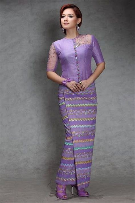 beautiful hand woven silk longyi  jacket burmese