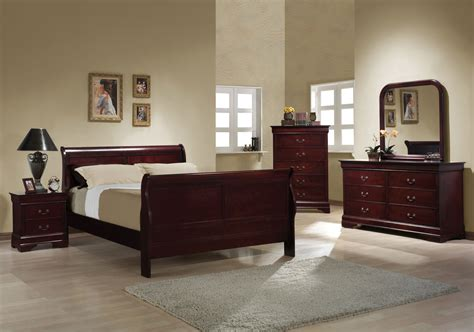 cherry sleigh bedroom louis philippe  queen bed