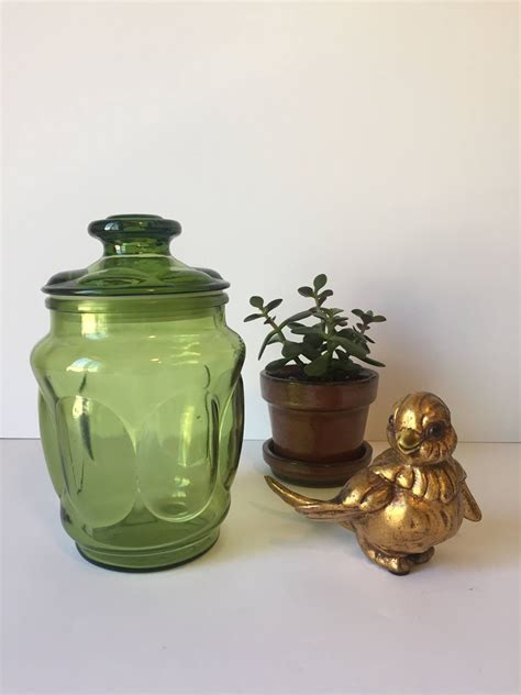 Kitchen Jars Shopping by Vintage Apothecary Jar Green Glass Canister Mid Century