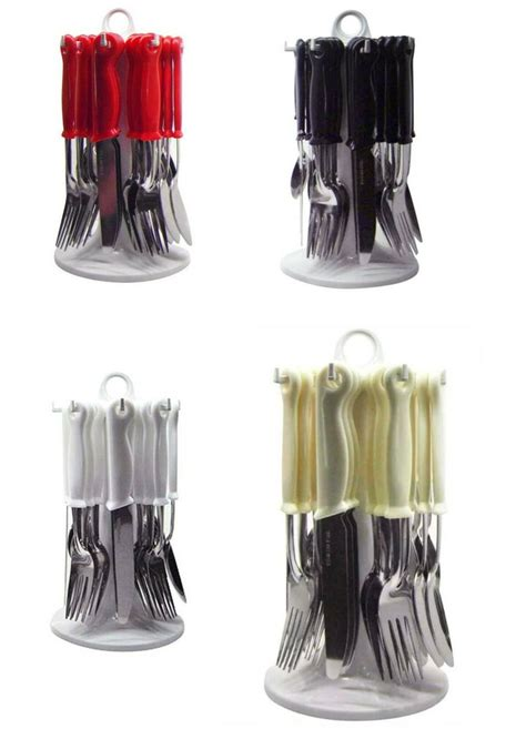 piece stainless steel cutlery set  revolving rotating carousel stand  ebay