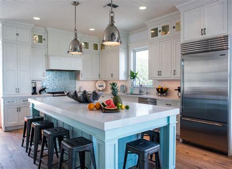 coastal white kitchen  turquoise island home bunch