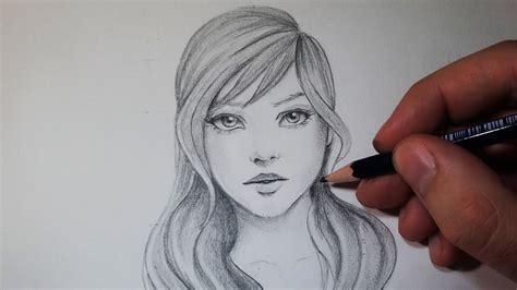 dessin facile fille comment dessiner un visage avec un crayon gris tutoriel