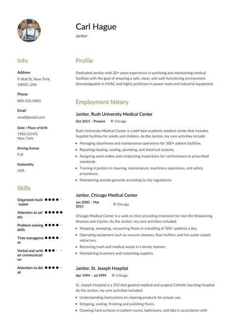 Janitor Resume by Janitor Resume Sle Template Exle Cv Formal