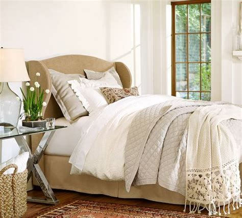 raleigh upholstered wingback bed headboard pottery