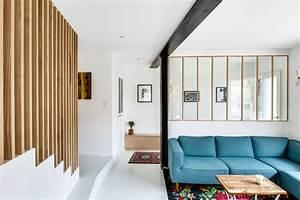 entree avec verriere et bois canape made tapis fleuri With tapis kilim avec canapé tissu et bois