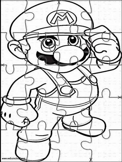 Mario Bros Puzzles Printable Coloring Cut Jigsaw