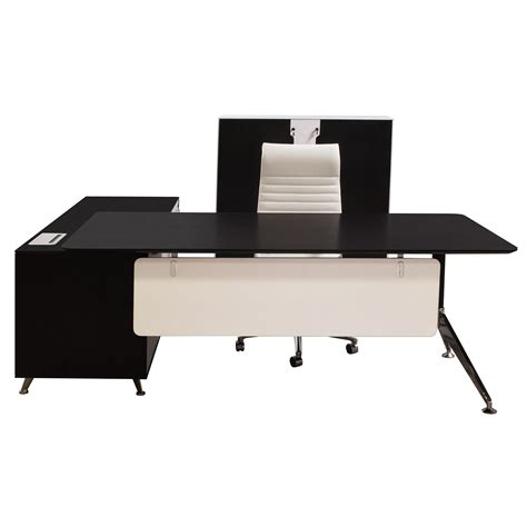 black and white desk l morgan manager right return melamine l shape desk black
