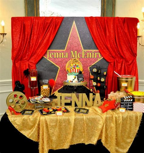 stunning table decorations ideas  hollywood theme