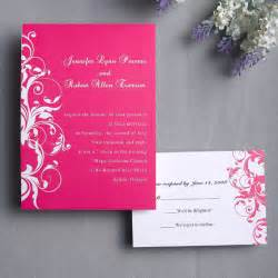 Elegant pink damask wedding invitations ewi010 as low as for Wedding invitation designs fuchsia pink