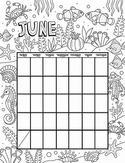 Calendar Printable Coloring Pages Credit Woojr Month
