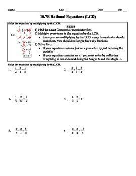 holt algebra 10 7b solving rational equations lcd worksheet doc pdf
